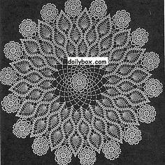 Triple Rose Pineapple Doily - Free crochet pattern by Vintage