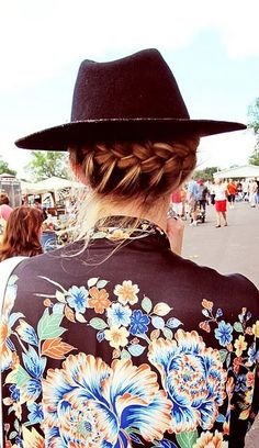 hats, french braids, music festival fashion, style, festival hair, plait, hat hair, hairstyl, music festivals