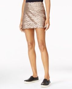 Look party-ready in this shiny sequin mini skirt from chelsea sky. | Polyester; lining: rayon | Dry clean | Imported | Zipper closure at back | Allover sequins | Bodycon silhouette | Hits at thigh | B