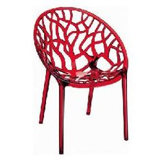 Compamia ISP052-TRD Crystal Polycarbonate Modern Dining Chair - Transparent Red - Set of 2