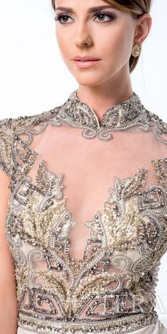 Mandarin Collar Evening Gown by Terani Couture