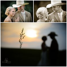 greenville sc wedding photographer photographers, rustic wedding ideas, outdoor wedding ideas, farm weddings, bride and groom portraits, couple photos, cowboy wedding, groom wearing cowboy heat and jeans, lace wedding gown with sweetheart neckline, feathers in hair, sunset weddings