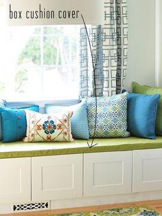 Start working on for every room::Centsational Girl: window seat box cushion cover Window Seat Cushions, Window Benches, Bench Cushions, Pillows, Window Seats, Bay Window, Ikea Cabinets, Kitchen Cabinets, Box Cushion