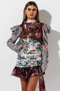 Pattern blocked, floral print mini dress by AKIRA. Black Women Fashion, Womens Fashion, Strapless Mini Dress, Pattern Blocks, Akira, Special Occasion Dresses, Snug Fit, I Am Awesome, Floral Prints