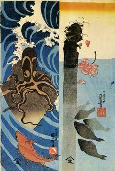 Utagawa Kuniyoshi: Octopus, Red Fish