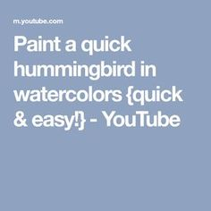 Paint a quick hummingbird in watercolors {quick & easy! Watercolor Video, Watercolor Painting Techniques, Watercolor Projects, Watercolor Paintings Abstract, Watercolour Tutorials, Painting Lessons, Watercolor Portraits, Watercolors, Painting Tutorials