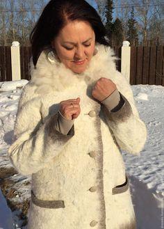 Купить куртка Снежная - белый, однотонный, полупальто женское, куртка женская, альпака, шерсть 100%