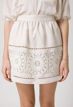 Beige Crochet Skirt by Chic+