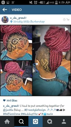 I'm in love with the size and color of these braids. The design is really nice too! Shaved Side Hairstyles, Cute Hairstyles For Short Hair, Creative Hairstyles, Short Hair Cuts, 4b Hairstyles, Twists, Locs, Undercut Hair Designs, Braids With Shaved Sides