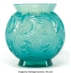 Art Glass:Lalique, R. LALIQUE CASED TEAL GREEN OPALESCENT GLASS LE MANS VASE .Circa 1931. Stenciled: R. LALIQUE, FRANCE. 4 inches ...