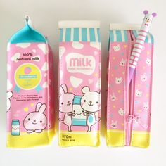 Kawaii Pastel Strawberry Milk Carton Zipper Pencil Case. One pencil case.