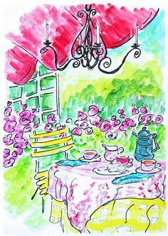 Tea in Garden Painting. Home decor painting garden. Tea time art. Wall decor Tea.Living room art.Art gift for her.Floral garden art.Pink art