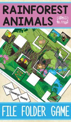 Free Printable Rainforest Animals File Folder Game for Kids