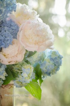 Peony Bouquet soft pink and blue with by PhotographybyMaryM, $10.00