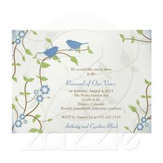 Thinking of renewing your wedding vows on your anniversary? This song birds and flowers wedding anniversary vow renewal invitation come with standard white envelopes and it's easy to personalize the text.