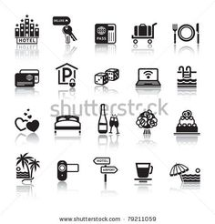 stock vector : Signs. Tourism. Travel. Sports. Third set black icons with reflection