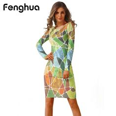 Fenghua Fashion Spring Summer Dress Women 2018 Casual Long Sleeve High  Elastic Floral Bodycon Dress Sexy b151f00a3755