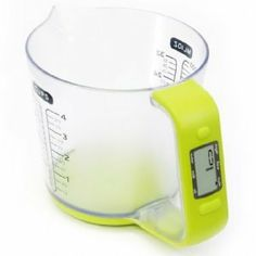 Measuring Jug Electrical LCD Weigh Scales Combined by SHERWOOD, http://www.amazon.co.uk/dp/B003FGU4TI/ref=cm_sw_r_pi_dp_CfFtrb1AHJTNE . According to the reviews you cant wash the bottom or handle in water, but apart from that its brilliant!