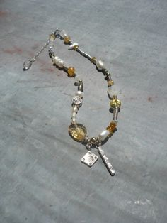 Handcrafted, Artisan, Citrine, Pearls, Moonstone and Sterling Silver and 14k Gold Fill, Boho Charm Necklace