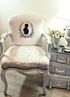 Thrift Store Chair Redo - I really like the script fabric on the seat.. I'd do the whole chair in that!!