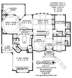 Lexington House Plan 06001, 1st Floor Plan, Traditional Style House Plans, Two Story House Plans