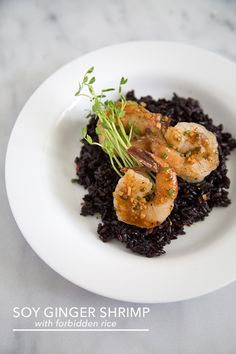 Soy Ginger Shrimp with Forbidden Rice | The Little Epicurean