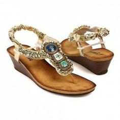 cdb057d7e54fb Bohemia Beaded and Flip-Flop Design Wedge Sandals For Women