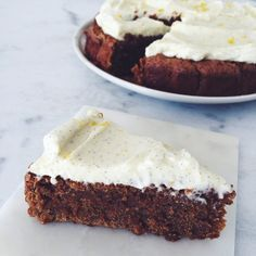 Carrot cake, with chocolate and cream cheese frosting