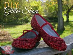 DIY Glitter Shoes  What you need:    A pair of shoes  Mod Podge  GLITTER!!!!!  What to do:    First mixMod Podge and glitter…just eye balled it ( make sure don't get it to thick or it will not go onto shoes… learned that one the hard way, but just added a little bit more mod podge and it was fine.   Paint your glitter mixture onto your shoes  Sprinkle a little bit more glitter onto your wet shoes (You can never have to much Glitter)  Let dry  Wea