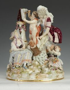 "Meissen Porcelain Figural Group, ""Lessons in Love"""