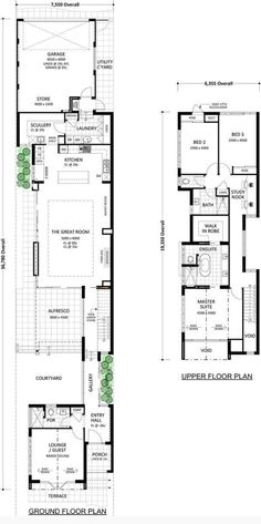 will give you more than you ever thought possible on wide block. This home design illustrates that it's not about what you've got but what you do with it. Narrow House Designs, Narrow Lot House Plans, Best House Plans, Dream House Plans, Modern House Plans, Atrium House, Courtyard House Plans, Beach House Floor Plans, Architectural Floor Plans
