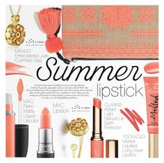 """The Perfect Pout: Summer Lipsticks"" by totwoo ❤ liked on Polyvore featuring beauty, Hourglass Cosmetics, MAC Cosmetics, Roberto Cavalli, MANGO, Clarins and NARS Cosmetics"