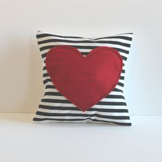 red heart pillow cover black and white striped, valentine's day decor. $25.00, via Etsy.