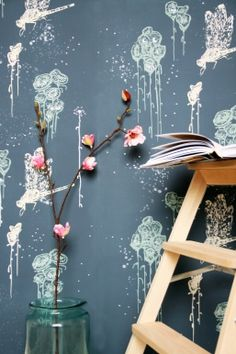 DRAGONFLY hand screen printed wallpaper / justyna medoń for  RED POPPY