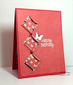 hand crafted card: Cathedral Quilt Pieces ... when a big quilt is too much, just three pieces and bold colors are just right ... red!