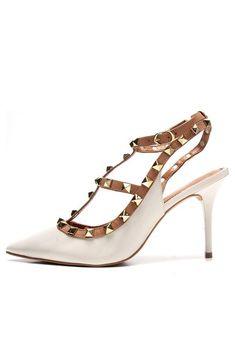 Scarpin Couro Santa Lolla Bico Fino Bege - Marca Santa Lolla Valentino, Heels, Fashion, Heel, Wish, Beige, Ladies Accessories, Leather, Shoes