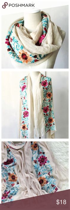 """Floral Embroidered Lightweight Scarf Floral Embroidered Lightweight Scarf  ---  37"""" w x 33"""" --- poly/viscose  89/11 --- pink or tans available Accessories Scarves & Wraps"""