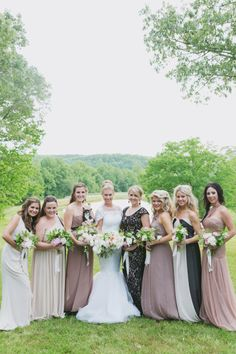 Mix and match bridesmaid dresses: http://www.stylemepretty.com/2014/09/26/classically-elegant-georgia-estate-wedding/ | Photography: Our Labor of Love - http://ourlaboroflove.com/