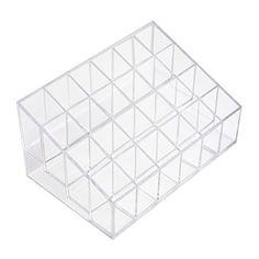 "1 X MERSUII 5.8"" x 3.8"" x 2"" Transparent Clear Acrylic Trapezoid 24 Lattices Lipsticks Cosmetic Lotion Makeup Organizer Storage Display Holder Stand"