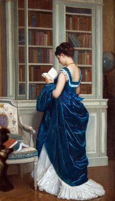 """""""Dans la Bibliotheque (1872)"""". Auguste Toulmouche (1829-1890), French painter."""