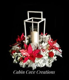 Christmas Lantern Centerpiece red white silver Holiday Floral Arrangement Winter Wonderland w Lights CUSTOM Designs by Cabin Cove Creations Lighted Centerpieces, Holiday Centerpieces, Christmas Lanterns, Christmas Decorations, Snow Flock, White Christmas, Winter Wonderland, Floral Arrangements, Red And White