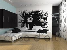 Girl with hair flowing with the wind in vinyl decal for home wall decoration.  Apply this sticker in any flat surface (laptop, windows, doors, furniture). Deco vinyl for your home..