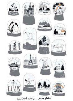 snow globes by charlotte farmer