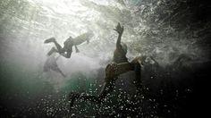 Just playing around underwater.