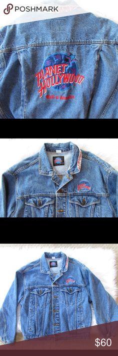 Vintage 90s Denim Planet Hollywood Jacket mint condition, less on mmercari, men's size medium, fits like a women's large/xlarge Vintage Jackets & Coats Jean Jackets