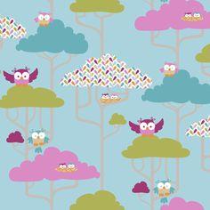 If By Air - Tree Tops, Owl - PANTONE fabric by ttoz on Spoonflower - custom fabric