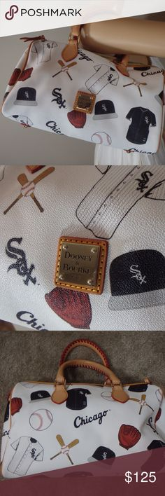 "Dooney & Bourke MLB Chicago White Sox Bag This bag is in beautiful condition! The inside is a little bit dirty, but the outside looks brand new! It's the perfect bag to support your favorite baseball team. Comes with dustbag and tags  It's approximately 12"" long and 7 "" high with 5"" handles and an additional detachable strap. Dooney & Bourke Bags Satchels"