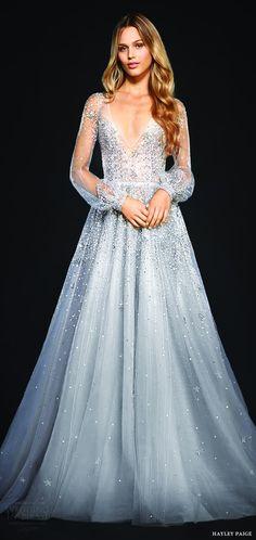hayley paige bridal spring 2017 (lumi) illusion bishop long sleeves v neck embellished a line wedding dress mv