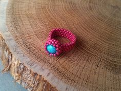 Turquoise Ring Gemstone Beadwoven Ring  Boho Jewelry  Seed