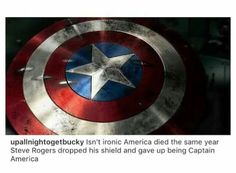 Steve Rogers quits being Captain America, and then the real America dies. Coincidence? I THINK NOT.